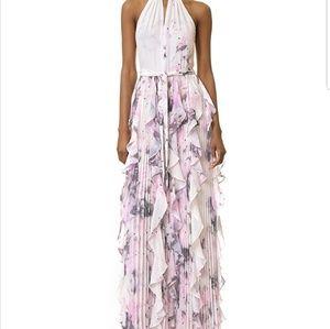 Parker black pleated long ruffle dress
